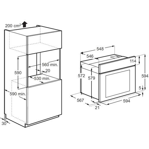 תנור אפיה בנוי טורבו אקטיבי Electrolux EOB5440AOX
