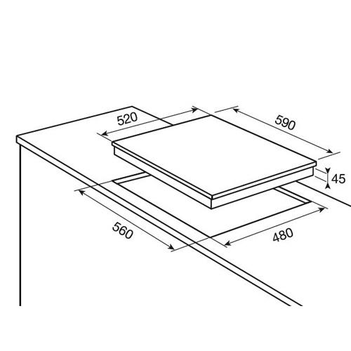 כיריים גז משטח זכוכית 4 להבות דגם EGG6436K