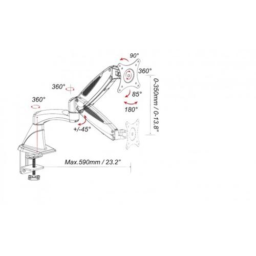 """מתקן תלייה תלת מפרקי למסכים עד """"27 דגם LDT-600G"""