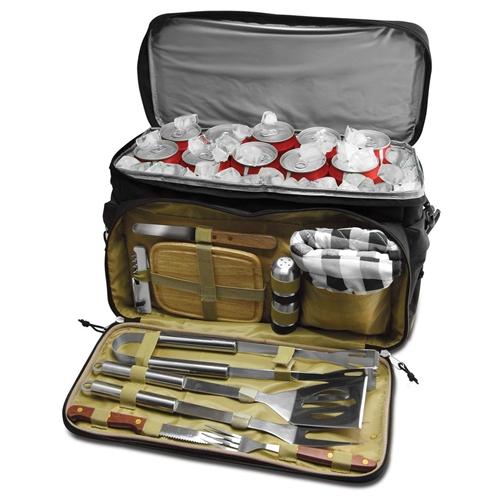תיק צידנית עם סט כלי ברביקיו - 12 חתיכות
