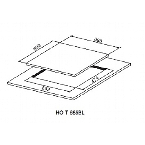 כיריים גז 5 להבות משטח זכוכית שחורה דגם HOT685