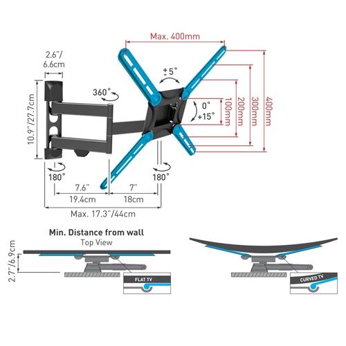 זרוע 4 תנועות מסדרת האקונומי למסכים שטוחים