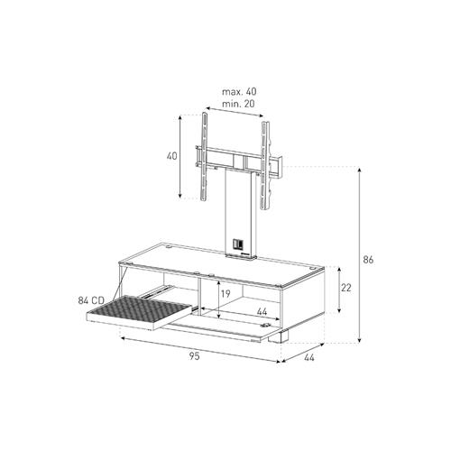 רהיט משולב תלייה למסכים דקים SONOROUS דגם MD8095