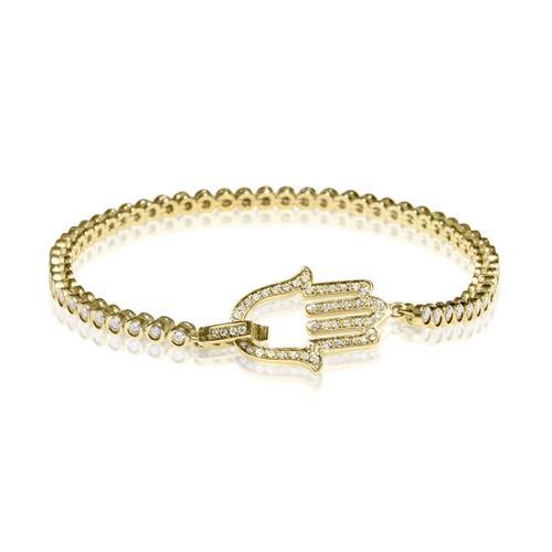 צמיד טניס חמסה זהב 14K משובץ יהלומים