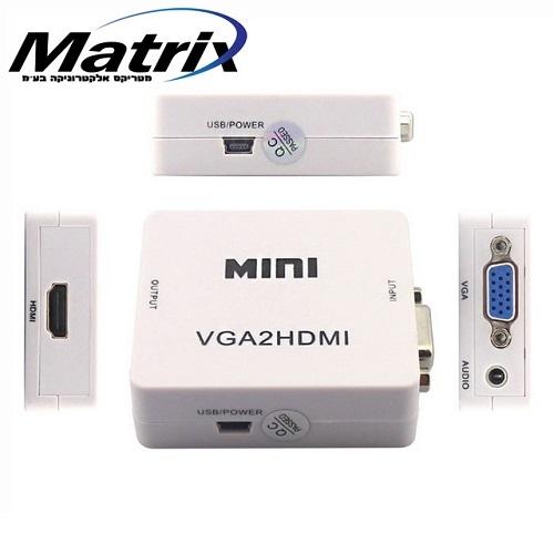 מתאם למוצרים עם יציאת VGA לכניסת HDMI כולל סאונד