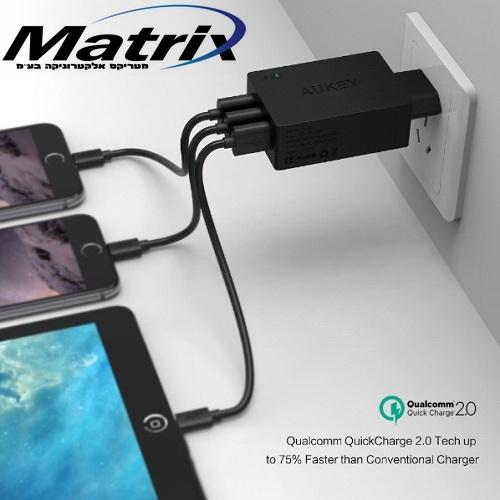 מטען AUKEY מקורי 3 כניסות USB תומך  QUICK CHARGE