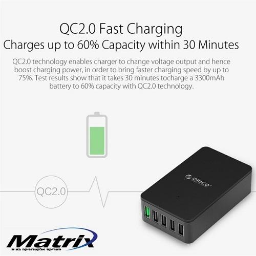 מטען שולחני 5 כניסות USB תומך QUICK CHARGE 2.0