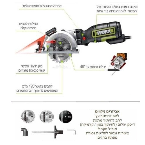 מסור יד קומפקטי 710W בעל אבטחה כפולה משולב לייזר