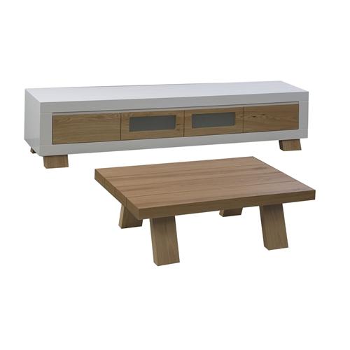 מערכת מזנון ושולחן לסלון מעוצבים במראה יוקרתי