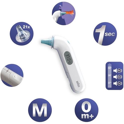 מד חום דיגיטלי לאוזן + 21 כיסויים חד פעמיים
