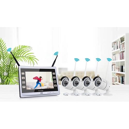 קיט אבטחה אלחוטי כולל 4 מצלמות + מסך מובנה