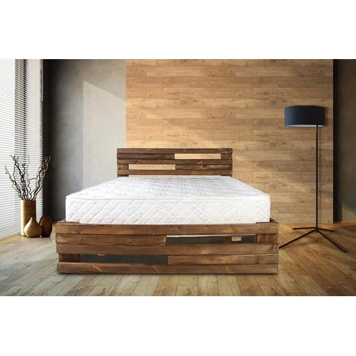 מיטה זוגית עשויה עץ אורן מלא חזק וטוב עם מזרון