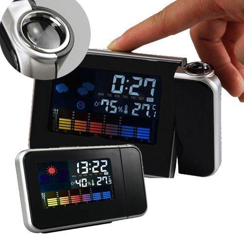 שעון מעורר דיגיטלי צבעוני מקרין שעה ומד טמפרטורה