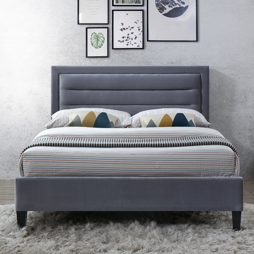 מיטה רחבה לנוער מרופדת בד קטיפתי HOME DECOR