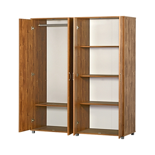 ארון 4 דלתות צד אחד מדפים צד שני תליה רחבה ומדף