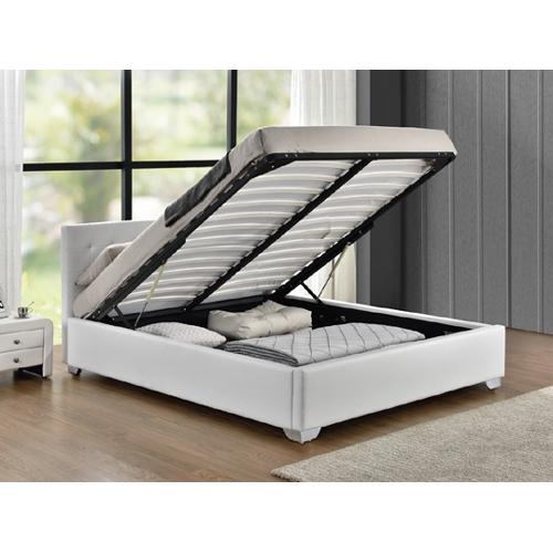 מיטה רחבה נוער בריפוד דמוי עור לבן עם ארגז מצעים