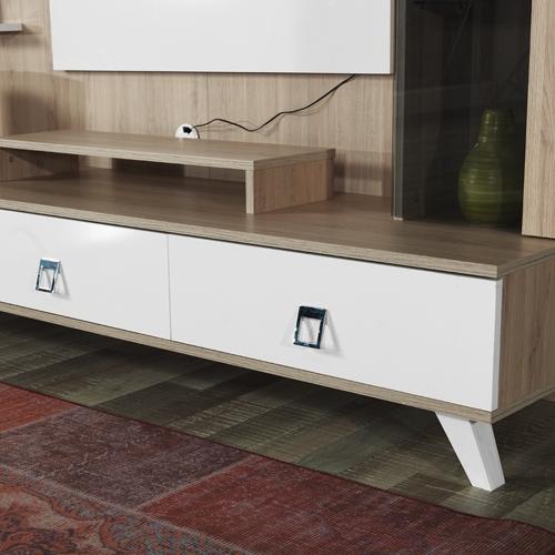 מערכת קיר לסלון כוללת מזנון, יחידות אחסון ומדפים HOME DECOR