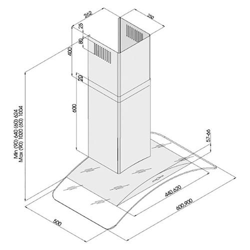 """קולט אדים ארובה 60 ס""""מ בשילוב זכוכית דגם LV-G-285"""