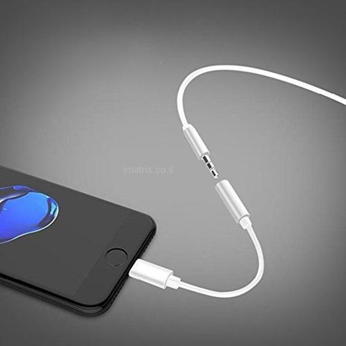 מתאם אוזניות לאייפון מדגם 7, 8 ו-10 (X) בצבע לבן