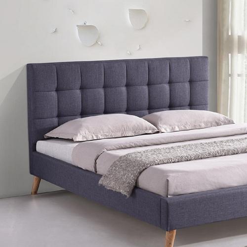 מיטה זוגית מרופדת בד עם רגלי עץ HOME DECOR