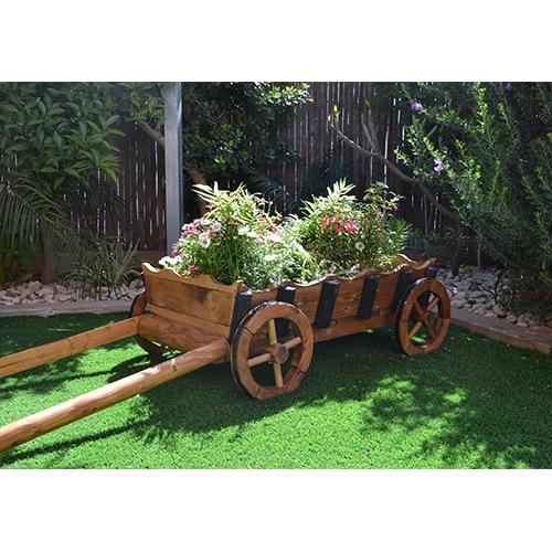עגלת נוי לגינה בצבע אגוז בשילוב צבע שחור דגם איתי