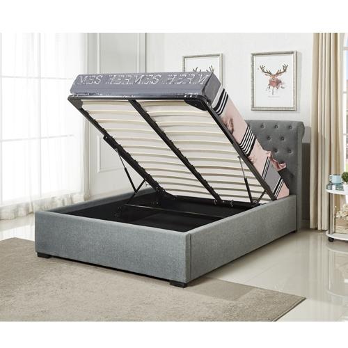 מיטה רחבה לנוער בריפוד בד עם ארגז מצעים גוון אפור