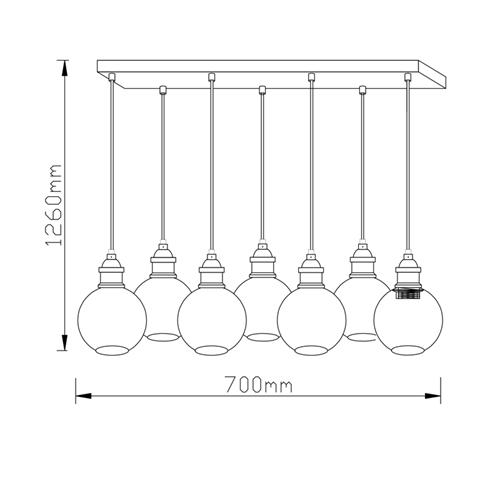 מנורת תליה מעוצבת עם 7 גופי תאורה ביתילי