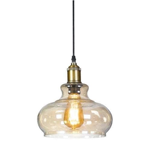 מנורת תליה פעמון המשלבת זכוכית ומתכת ביתילי