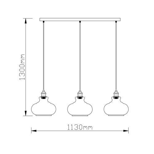 מנורת תליה פעמון עם 3 גופי תאורה זכוכית ביתילי