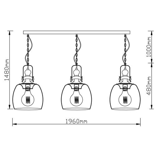 מנורת תליה עם 3 גופי תאורה זכוכית ומתכת ביתילי