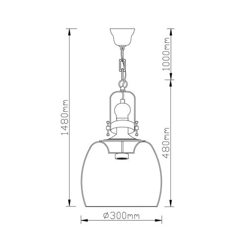מנורת תליה עם גוף תאורה משלב זכוכית ומתכת ביתילי