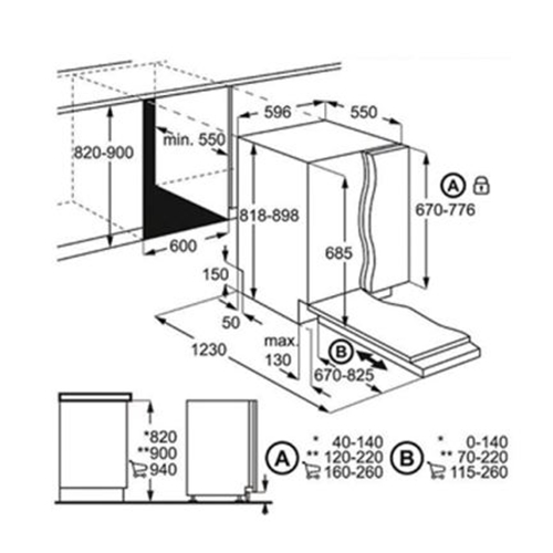 מדיח כלים אינטגרלי מלא Comfort Lift דגם FSK93800P