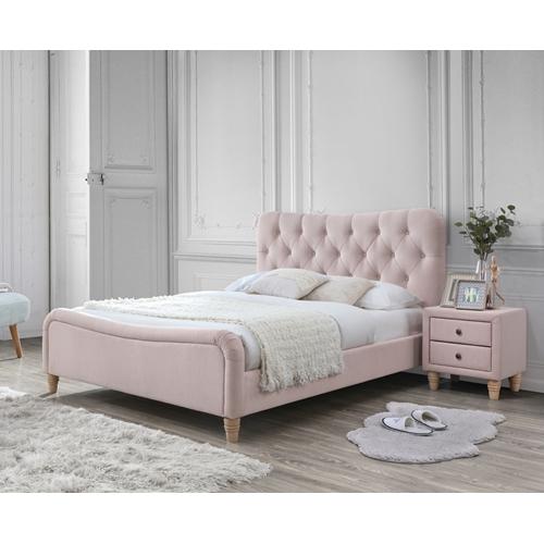 מיטה רחבה מרופדת עם שידת לילה תואמת בית HOME DECOR