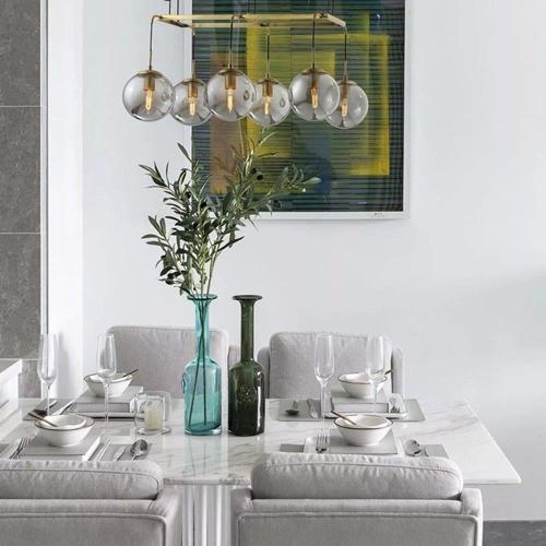 מנורת תליה מעוצבת 6 גופי תאורה כדורי זכוכית ביתילי