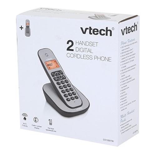 טלפון דק כפול שחור Vtech דגם CS1000TW