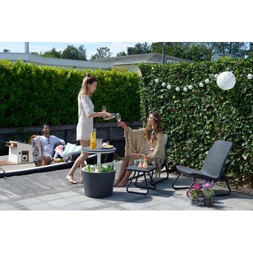 סט רהיטים למרפסת ולגן במראה עץ קלוע דגם ריו KETER