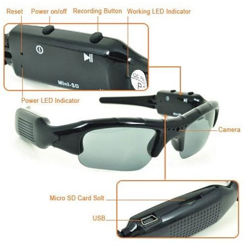 משקפי שמש מוסלקים במצלמת ריגול וידאו איכותית