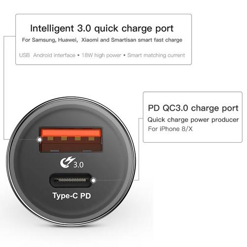 מטען רכב 36W TYPE C PD + QC3.0 תומך טעינה מהירה