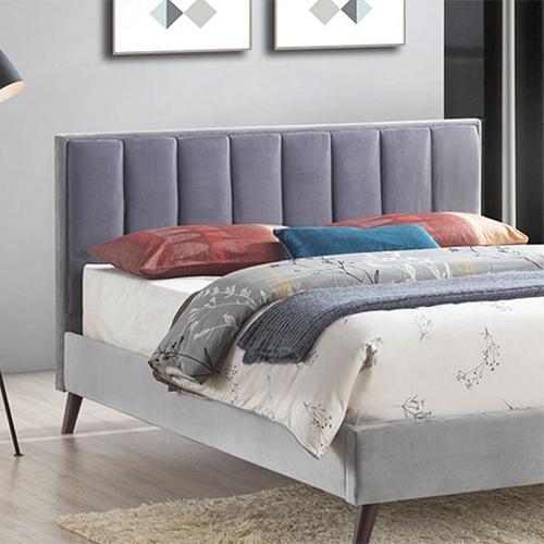 מיטת זוגית מעוצבת בריפוד בד קטיפתי משולב 2 גוונים