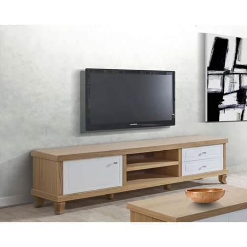 מזנון לסלון משלב צבע לבן מבריק וצבע עץ דגם אקסלנס