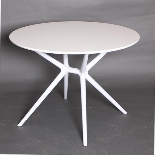"""שולחן אוכל לבן עגול 100 ס""""מ דגם דגן"""