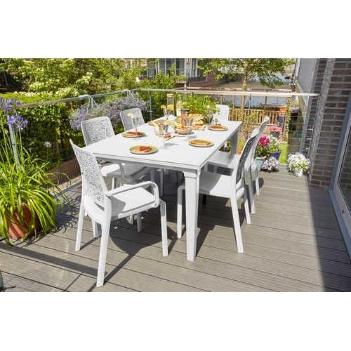 סט שולחן פוטורה עם 6 כסאות שרלוט (עם מסעדי ידיים)
