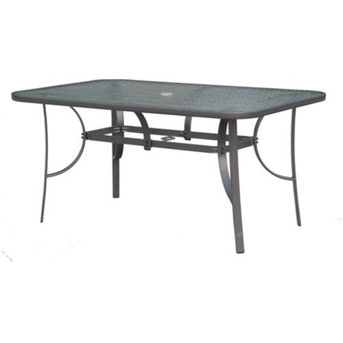 סט ריהוט לגינה שולחן עם זכוכית מחוסמת ו-6 כסאות