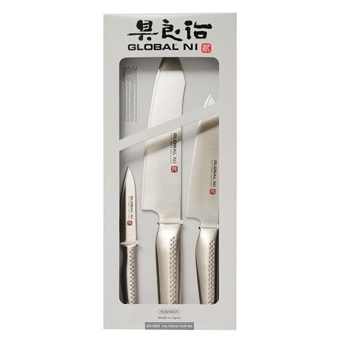 סט 3 סכינים אוריינטליות מסדרת NI של חברת GLOBAL