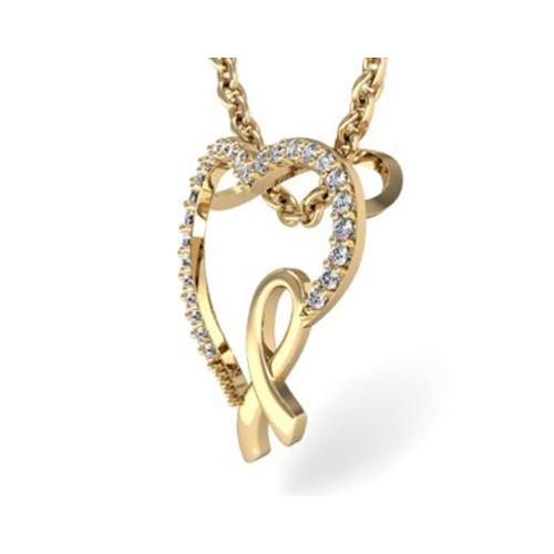 תליון לב יהלומים