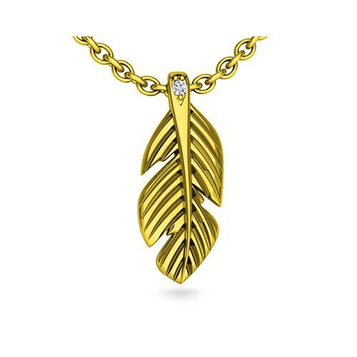 תליון זהב בעיצוב נוצה