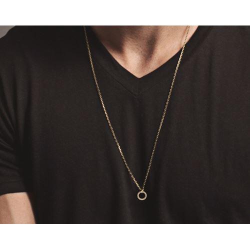 תליון זהב לגבר/אישה בעיצוב עיגול יהלומים שחורים