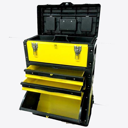 ארגז כלים טרולי 3 חלקים עם מגירות מוסך ממתכת