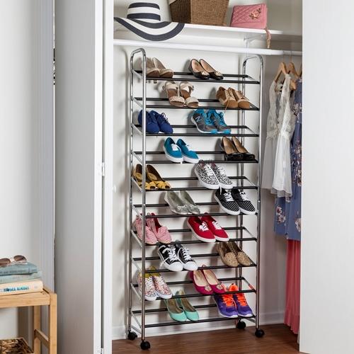 מתקן נעליים נייד מניקל איכותי  מאפשר עד 50 זוגות