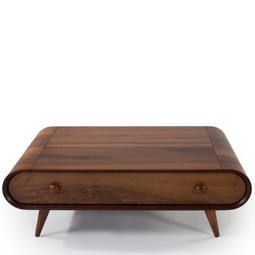 שולחן סלון בצבע עץ עם מגירה דגם כרמל מבית LEONARDO